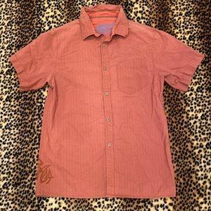 PrAna Short Sleeve Button Up Orange Shirt Large
